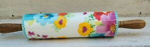 The Pioneer Woman Breezy Blossom Ceramic Rolling Pin Acacia Wood Handle And Rest