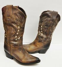 fe59c870f95 JEFFREY CAMPBELL Cowboy Western Boots Oiled Leather Laced Brown Women s  Size 9