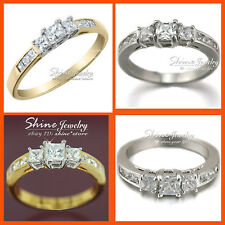 9K GOLD FILLED TRILOGY SQUARE PRINCESS SIMULATED DIAMOND WEDDING LADY SOLID RING