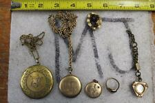 NICE VINTAGE JEWELRY LOT COMPACT GOLD TONE LOCKETS, RUBY RING, COMPASS NECKLACE