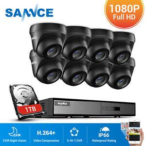 SANNCE 8CH 1080P HDMI DVR 3000TVL Home Outdoor Security IR Cut Camera System 1TB