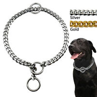 Luxury Cuban Link Pet Dog Chain Collars Stainless Steel with Ring Gold Silver