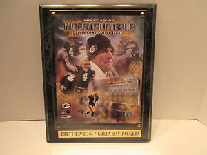 Brett Favre Indestructible 200th Consecutive Start Green Bay Packers Plaque