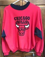 The Game Chicago Bulls NBA CrewNeck SweatShirt Red Black Embroidered Men XL