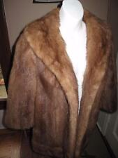 VTG 60'S PASTEL MINK FUR JACKET COAT LARGE SHAWL COLLAR POMPOM BUTTON S M