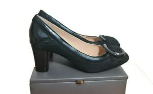 CLARKS Shoes Size 5.5 Black Suede Leather Funeral Party Evening Office Holiday