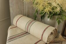 grain sack fabric by the yard red & black stripes Grainsack upholstery linen