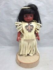 Girl doll in Native American suede leather costume
