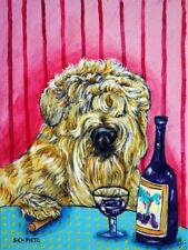 Soft Coated Wheaten Terrier wine dog 11x14 artist prints animals gift new