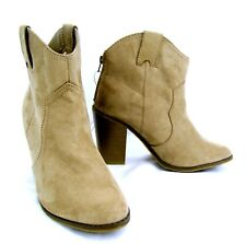 Merona High Heel Ankle Boot Western Style Faux Suede Zipper Back Size 10 Taupe