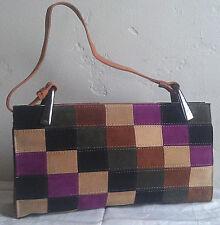 Vintage Suede Leather MultiColor Boho Patchwork Mod Geometric Shoulder Bag Purse