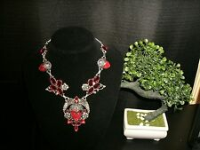 necklace red carved face some 925 Silver Cleopatra cluster bib