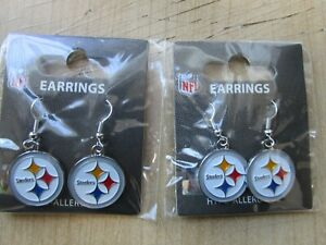 2 SETS PITTSBURGH STEELERS EARRINGS  NEW NFL AUTHENTIC LICENSED