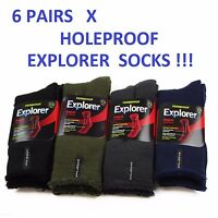 6 PAIRS MENS ORIGINAL HOLEPROOF EXPLORER WOOL BLEND SOCKS BLACK NAVY HIKING WORK