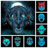 Halloween Mask Sound Reactive LED Light Up Activated Dance Rave EDM Plur Party