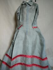 "Antique Doll Dress Grey Silk with Red Ribbon Trim 20 "" Long"