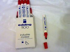 10 EDDING 1100 PERMANENT MARKERS -RED PACK OF 10 - INK REFILLABLE-DRAWING/SKETCH