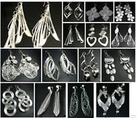 Silver Tone Fashion Earrings Costume Jewellery - Pierced or Clip On - 22 Designs