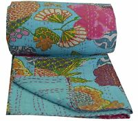 Turquoise Indian Queen Kantha Quilt Bedspread Blanket Bedding Throw Handmade