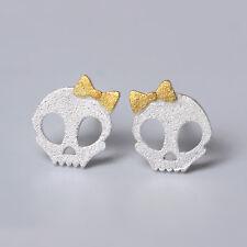 Solid 925 Sterling Silver Cute Sugar Bow Skull Skeleton Post Studs Earrings Gold