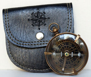 """Antique Vintage Brass Dollond London Working 2"""" Compass With Black Leather Case"""