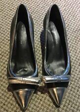 Kurt Geiger Black And Silver Kitten Heels
