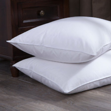 Puredown Goose Down and Feather Bed Pillow, Standard/Queen, White, Set of 2