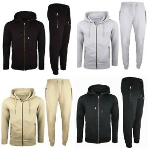 Mens Basic Tracksuit Boys Plain Jogging Bottom Tracksuits Zip Track Top Fleece