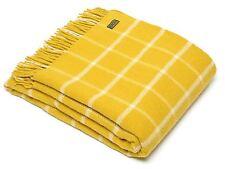 Windowpane Check Pure New Wool Blanket Throw Rug Mustard Yellow BRITISH MADE