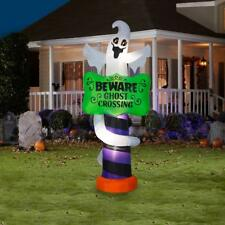 8.99 ft. Pre-Lit Beware Ghost Crossing Sign Halloween Inflatable