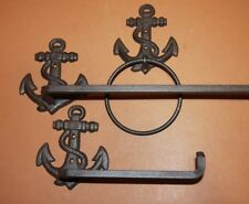 (3) Rustic Coastal Living Bathroom Decor Cast Iron Anchor Towel Bar Rack Ring