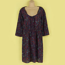 Unbranded Linen Blend Round Neck Floral Dresses for Women