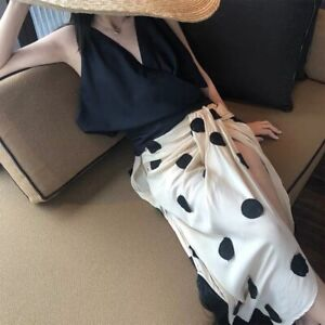 Designer Sexy Beach Dress Dot White Size M