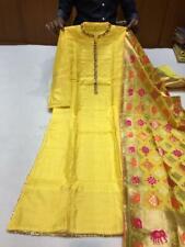 Heavy Russian silk kurtis with embroidery and pintex with banarasi silk dupatta