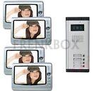 kit videocitofono quadrifamiliare: 4 monitor e Telecamera da esterno 5 tasti