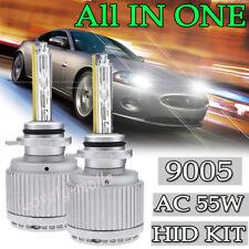 AC 55W 9005 HB3 Xenon 6000K White LED Headlight Lamp Bulb KIT High Power 7000LM