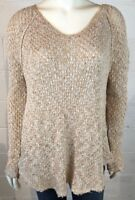 Free People Knit Sweater Size S P Brown Tan Boho Style Frayed Hem