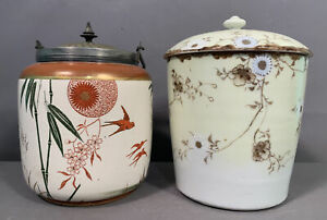 Lot (2) Antique ORIENTAL FLOWER & BIRD Decorated PORCELAIN Old BISCUIT JAR