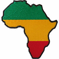 Embroidered Iron On Patch Sew On Badge for Clothes Bags Rasta Reggae Flag Africa