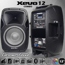 Coppia 2 CASSE Amplificate 2000 Watt Professionali BLUETOOTH FM USB X12C
