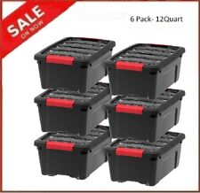 Plastic Storage Tote Container Clear Stackable Pull Box 6 Pack Set With Lid Bin