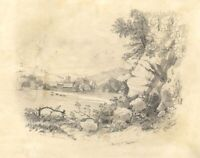 View Towards Henley on Thames – Original mid-19th-century graphite drawing