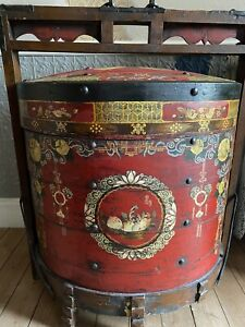 Chinese Oriental Balinese Wedding Chest Cabinet. Indonesian Dowry Chest.