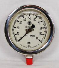 "McDaniel Controls 4 1/2"" Safety Gauge 0-100 PSI Pressure Liquid Filled 1/2"" NPT"