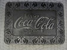 "Hit Line USA ""Enjoy Coca Cola"" Pewter Belt Buckle 3 1/8"" x 2 1/4""-FAST SHIPPING!"