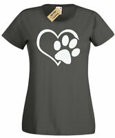 Womens Paw Print Heart T-Shirt Dog Cat Animal Lovers ladies top gift