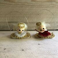 Vintage Set of 2 Angel on Swing Christmas Ornaments Japan Retro Holiday Decor