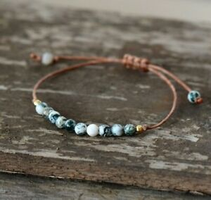 Natural Stone Jasper Beaded Bracelet Gemstone Crystal Cord Stacking Friendship