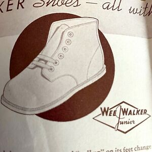 1941 WEE WALKER BABY SHOES vintage advertising brochure FOOT CHART smooth tongue