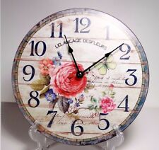 Large 30 cm Country Style Hanging Wall Clock  Flower  Design #4